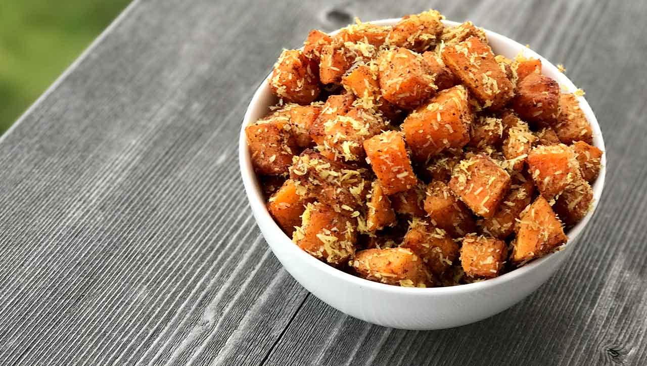 Beilage, Snack oder Nachtisch: Kokos Curry Süßkartoffeln gehen immer