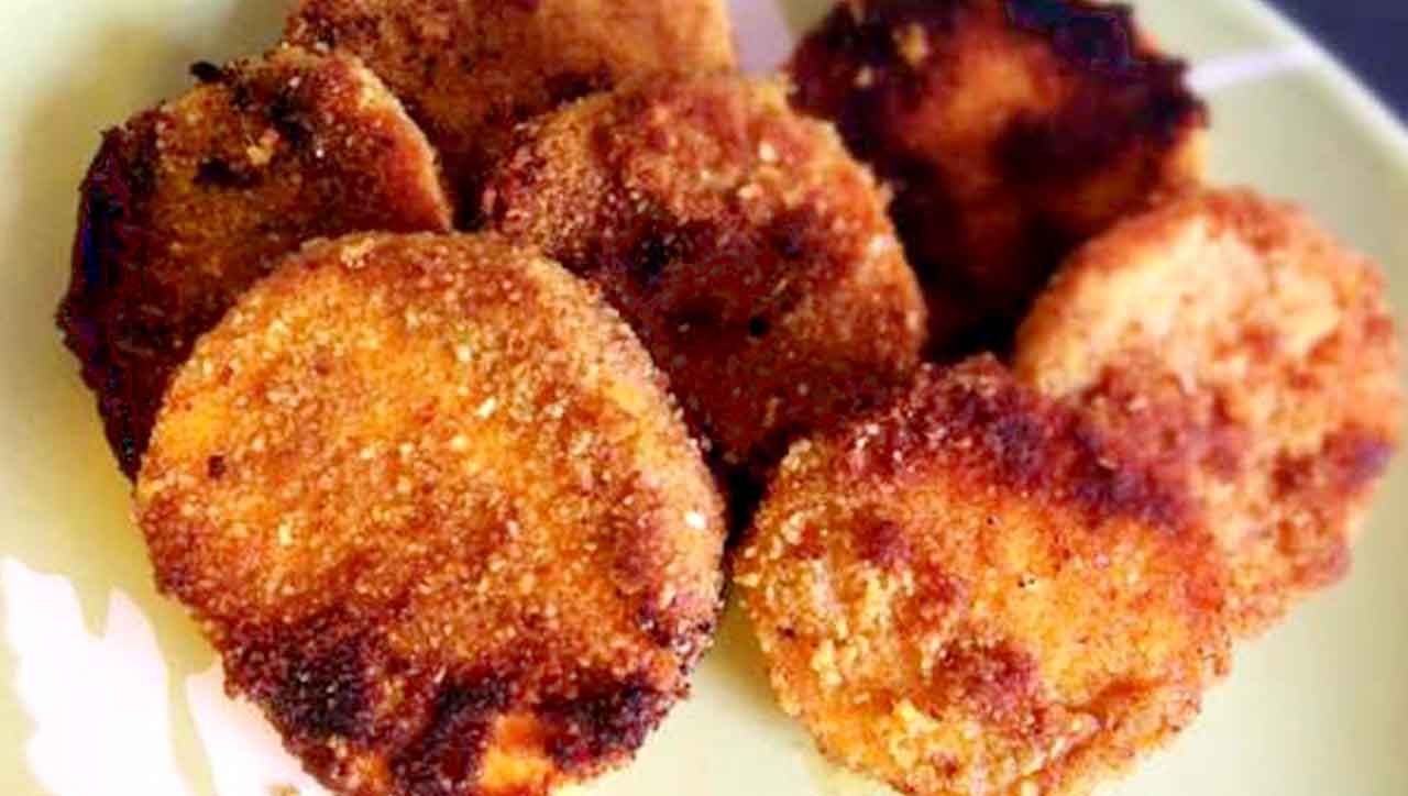 Suesskartoffel paniert