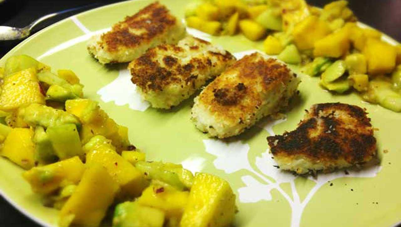 Fisch in Kokosmantel mit Mango Salsa