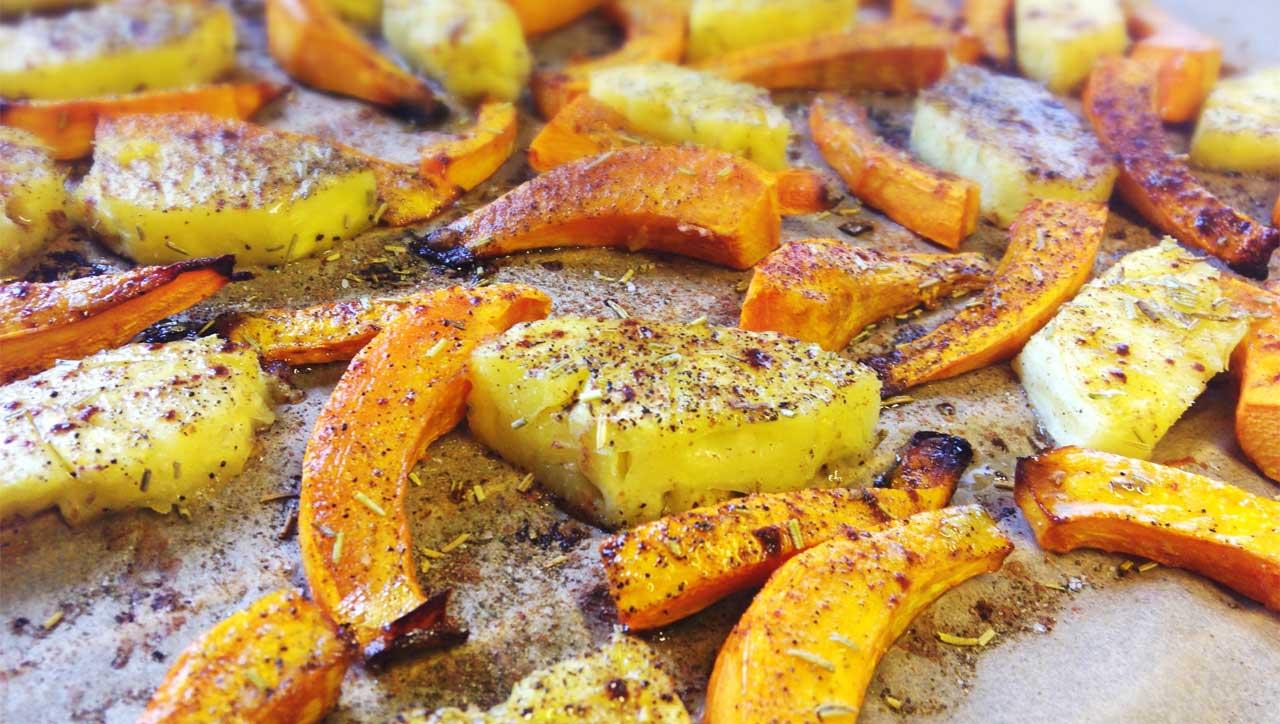 Gebackener Kürbis mit Ananas