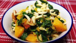 Kuerbis Auflauf mit Huehnchen und Spinat