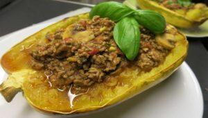 Spaghetti Kuerbis Bolognese