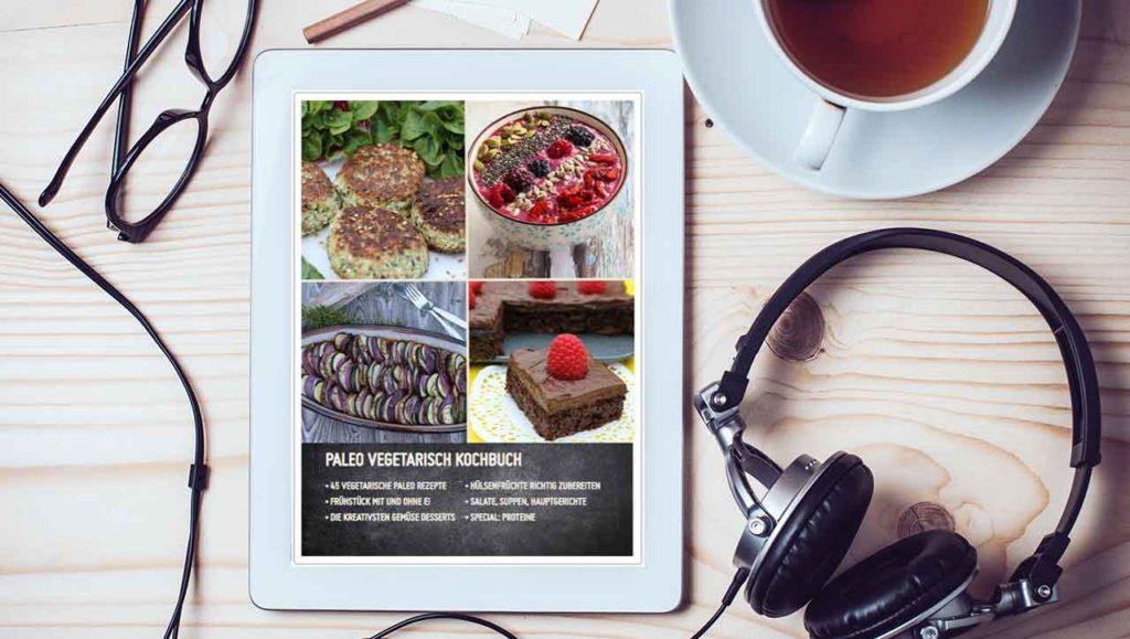 Vegetarisch Kochbuch auf tablet