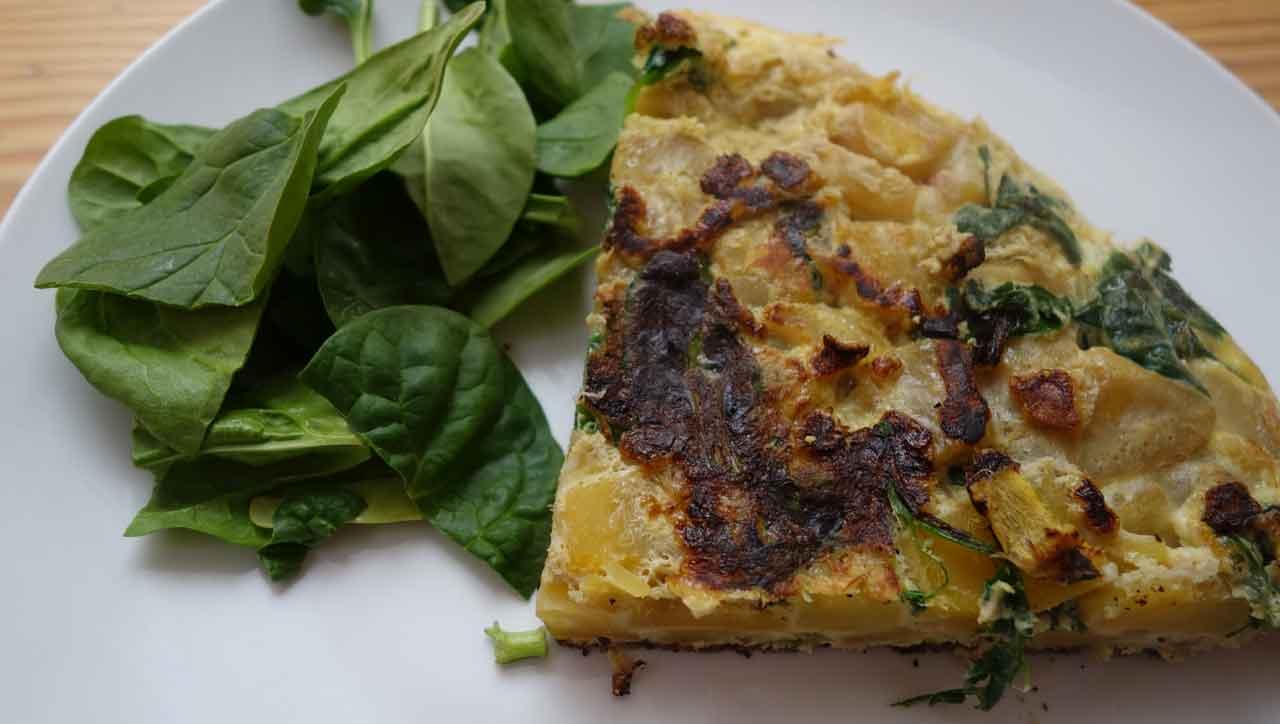 Spanisches Omelett mit Spinat