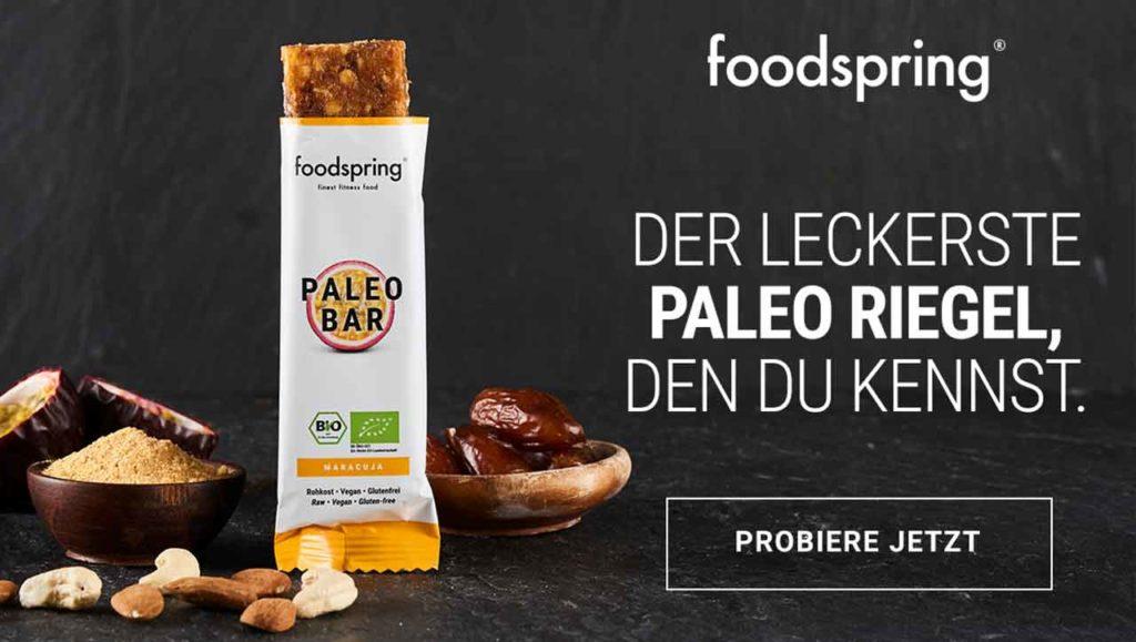 foodspring banner paleo riegel