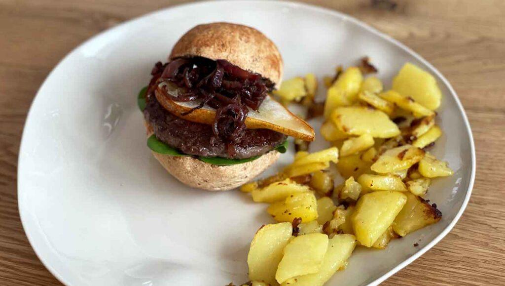 hirschburger mit birne